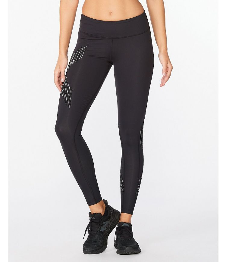 Mid-Rise Compression Tight|Black/Dotted Reflective Logo|XLT